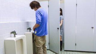 Japanese milf sneaking in public restrooms