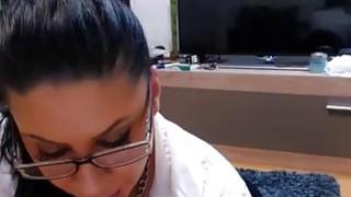 Lovely brunette MILF sucked and gets fucked on webcam