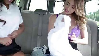 Two sexy teen gets their pussy banged on a car seat