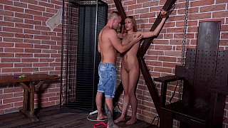 Handcuffed babe teased and tortured