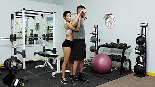 Ebony trainer seducing a white guy
