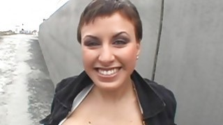 Chick is sucking studs giant cock tenaciously