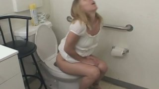 Stupid blond bitch Julie Knight blowjob on bathroom floor