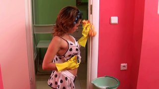 Too spoiled bright teen Adeline is fed up with cleaning and plays with a dildo