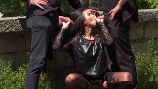 Dark Haired Babe Gangbanged In Public