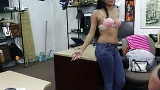 Sexy brunette teenage babe strips clothes and gets vagina fucked doggystyle