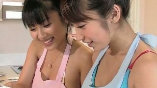 Cooking time with hot brunette Asian model Arisa Oda