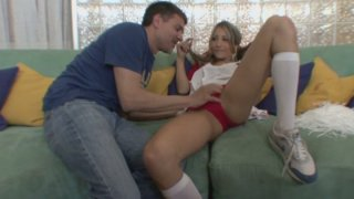 Sporty cutie with pigtails Natalia Rossi stripteases for riding a dick