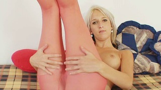 Hot thin euro babe obsessed with nylon tights pantyhose