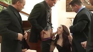 Brunette Evan pussy is getting ravage by a couple of huge dicks