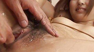 Several horny men ravish asian babes moist muff