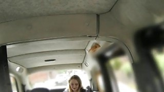 Hot babe in heels banged by fake driver in the backseat