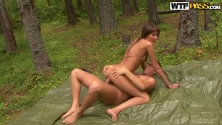 Bootylicious forester Vasavi gets poked doggy in the woods